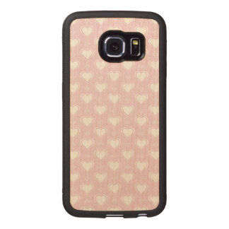 Pastel Valentine Hearts Wood Phone Case