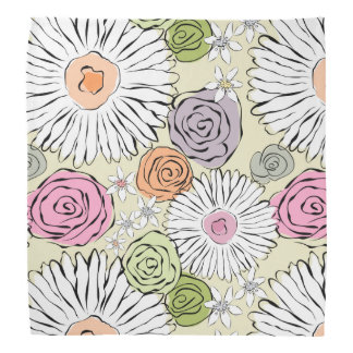 Pastel vintage abstract spring flowers kerchiefs