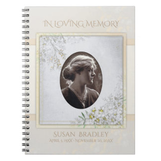Pastel Vintage Flowers Funeral Memorial Guest Book Spiral Notebook