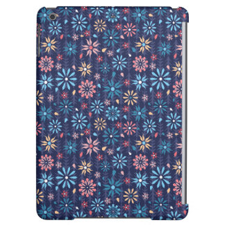 Pastel vintage flowers on navy background iPad air cover