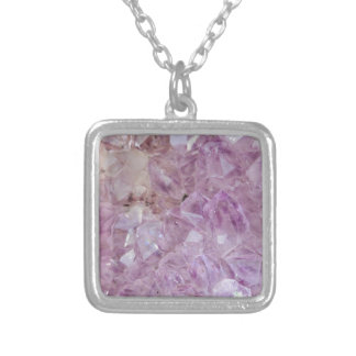 Pastel Violet Crystal Quartz Silver Plated Necklace