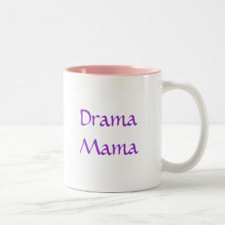 Pastel Walking Drama Masks, Drama Mama Two-Tone Coffee Mug