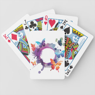 Pastel Watercolor Butterflies Around a Ring Bicycle Playing Cards