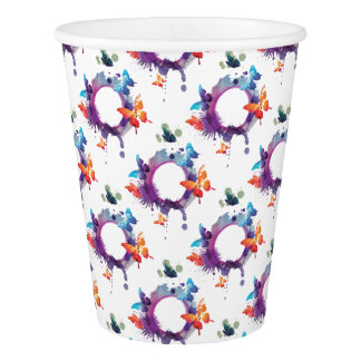 Pastel Watercolor Butterflies Around a Ring Paper Cup