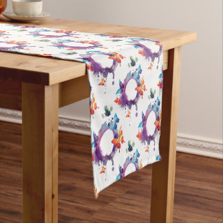 Pastel Watercolor Butterflies Around a Ring Short Table Runner
