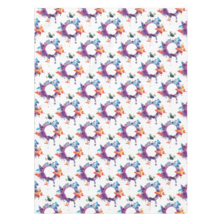 Pastel Watercolor Butterflies Around a Ring Tablecloth