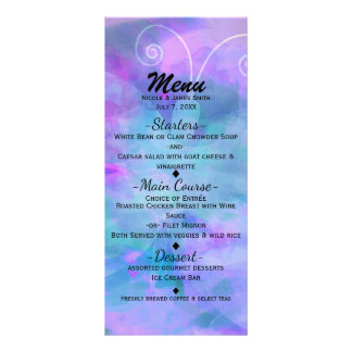Pastel Watercolor Butterfly Party Invitation Menu