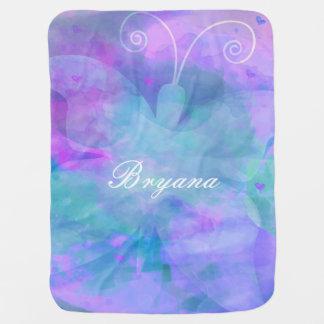 Pastel Watercolor Butterfly Personalized Custom Baby Blanket