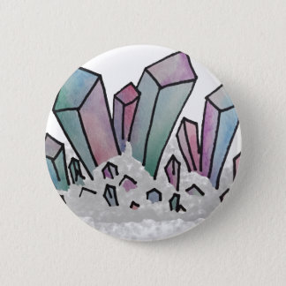 Pastel Watercolor Crystal Cluster 2 Inch Round Button