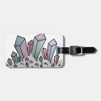 Pastel Watercolor Crystal Cluster Luggage Tag