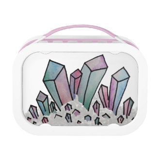 Pastel Watercolor Crystal Cluster Lunch Box