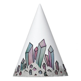 Pastel Watercolor Crystal Cluster Party Hat