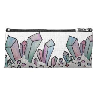 Pastel Watercolor Crystal Cluster Pencil Bag