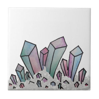 Pastel Watercolor Crystal Cluster Tile