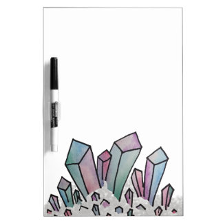 Pastel Watercolor Crystal Cluster Whiteboard