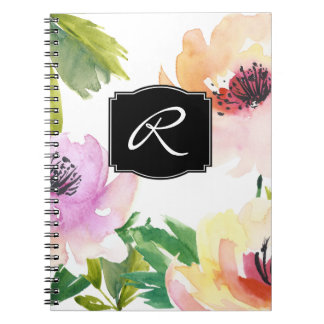 Pastel Watercolor Floral Monogrammed Notebooks
