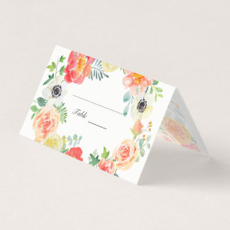 Pastel Watercolor Flowers Place Card