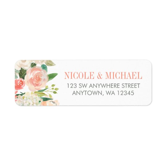 Pastel Watercolor Flowers Return Address Return Address Label