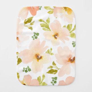 Pastel Watercolor Flowers. Watercolor Flower Gift Baby Burp Cloths