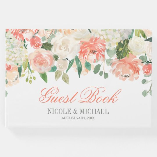 Pastel Watercolor Flowers Wedding Guest Book