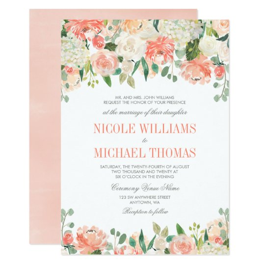 Pastel Watercolor Flowers Wedding Invitations