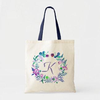 Pastel Watercolor Flowers Wreath Tote Bag