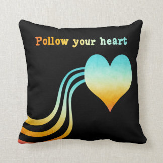 Pastel Watercolor Follow Your Heart Throw Pillow