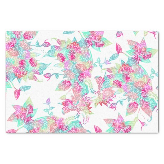 Pastel watercolor girly hand drawn floral pattern tissue paper
