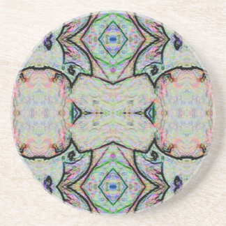 Pastel Watercolor Kaleidoscope Pattern Beverage Coaster