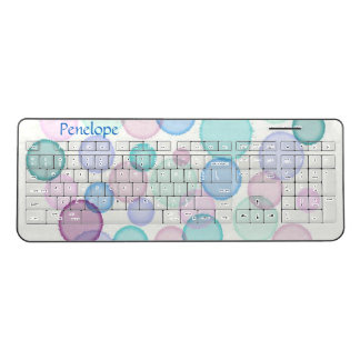 Pastel Watercolor Paint Splat Add Your Name Wireless Keyboard