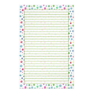 Pastel Watercolor Polka Dots Blue Green Lined Stationery