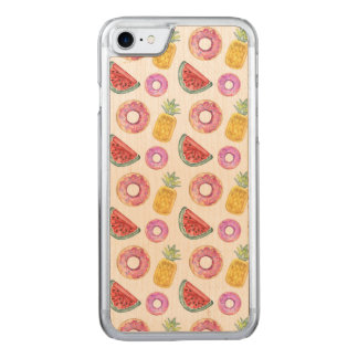 Pastel Watercolor Pool Float Pattern Carved iPhone 8/7 Case