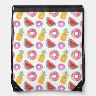 Pastel Watercolor Pool Float Pattern Drawstring Bag