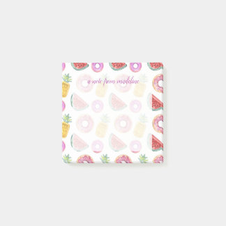Pastel Watercolor Pool Float Pattern Post-it Notes