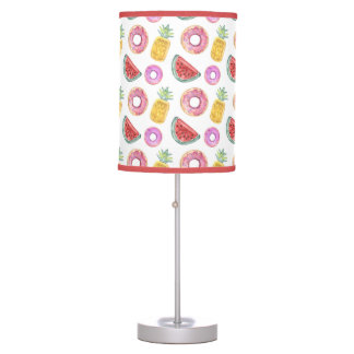 Pastel Watercolor Pool Float Pattern Table Lamp