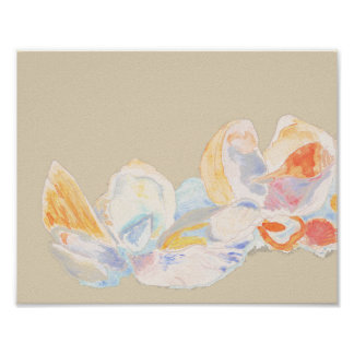 Pastel Watercolor Seashell Poster