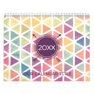 Pastel Watercolor Triangle Pattern Calendars