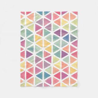 Pastel Watercolor Triangles Fleece Blanket