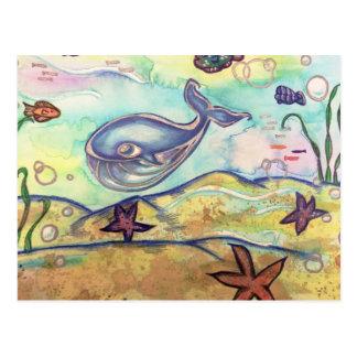 Pastel Watercolor Whale Postcard