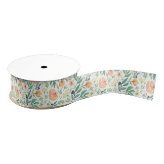 Pastel watercolors flowers pattern grosgrain ribbon