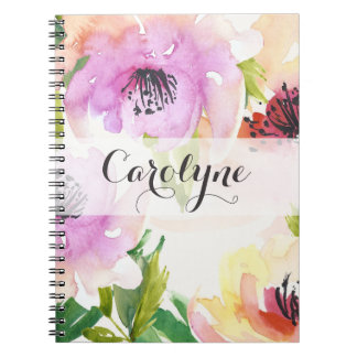 Pastel Watercolour Hand Painted Flowers Notebook