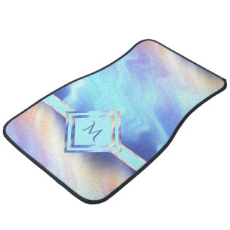Pastel Waves Monogram Floor Mat