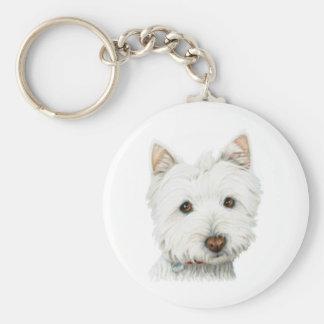 Pastel Westie Dog Basic Round Button Keychain
