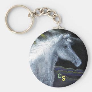 Pastel White Horse Key Ring Basic Round Button Keychain