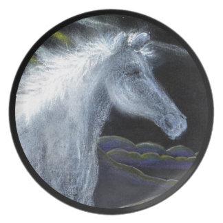 Pastel White Horse Melamine Plate