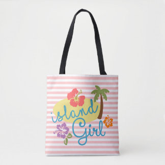 Pastel White Soft Pink Stripes Tote Bag