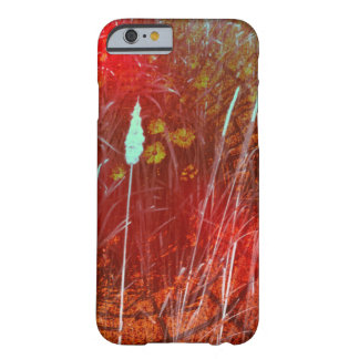 Pastel wild flowers on a textured red background barely there iPhone 6 case