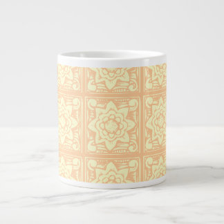 Pastel Woodcut Flowers Pattern Jumbo Mug