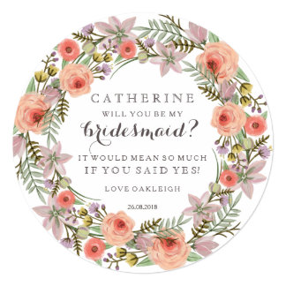 "Pastel Wreath Will You Be My Bridesmaid 5.25"" Square Invitation Card"