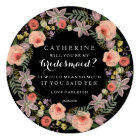 Pastel Wreath Will You Be My Bridesmaid | Black Card